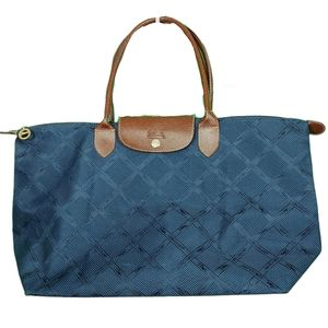 Large Navy Blue Nylon & Brown Leather Tote Bag